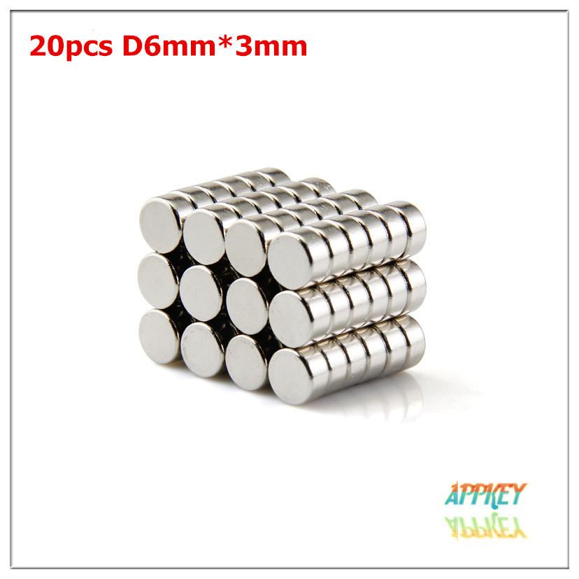 Гаджет  Free shipping 20pcs high quality Round NdFeB Neodymium Disc Magnets Dia 6mm x 3mm N35 Super Powerful fridge art craft Magnet   None Строительство и Недвижимость