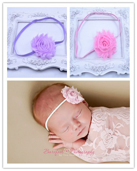 Shabby Flower Headband 10 COLORS, YOU PICK - Shabby Chic Headbands Skinny Elastic Baby Headbands Adult Headbands 10pcs/lot