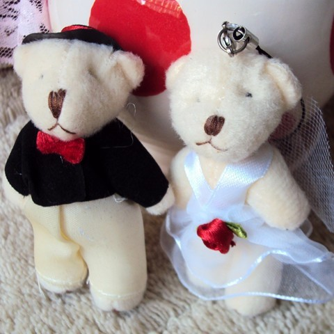 Lovers joint bear small gift doll bouquet plush toy wedding gift(China (Mainland))