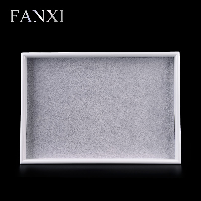 FANXI Free shipping custom glossy finish white lacquer jewellery case jewelry display and packing empty trays with velvet insert(China (Mainland))