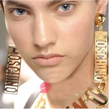 2015 brand accessories MOSC gold metal big letter chain bib choker necklace exaggerated HINO punk rock pendant necklace women(China (Mainland))