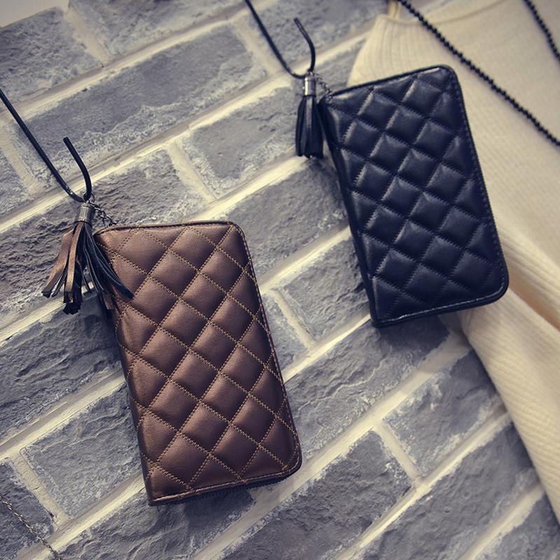 Good Quality New Fashion Thread Pattern Long Zipper Women Wallet Ladies Tassels Pu Leather Female Purse ST747 Black tassel(China (Mainland))