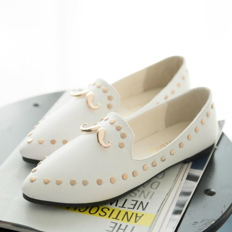 DsFine spring Women fashion wild rivet Solid cusp flats singles mustache sapatos comfortable alpargatas loafers casual shoes(China (Mainland))