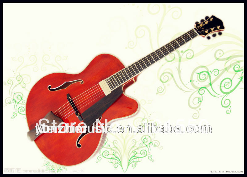 17inch handmade electric jazz guitar with solid wood.(China (Mainland))