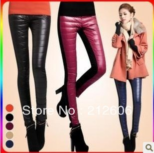 New Fashion Candy Colors Women's Stitching Pantyhose Thick Warm Legging Female Winter Feather Bottoming Trousers Warm slim pants