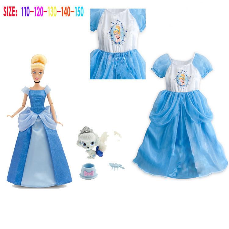 new 2015 Summer Girls Dress Children Snow White Dresses Blue Baby Kids Clothing kids dress princess dress meninas vestir(China (Mainland))