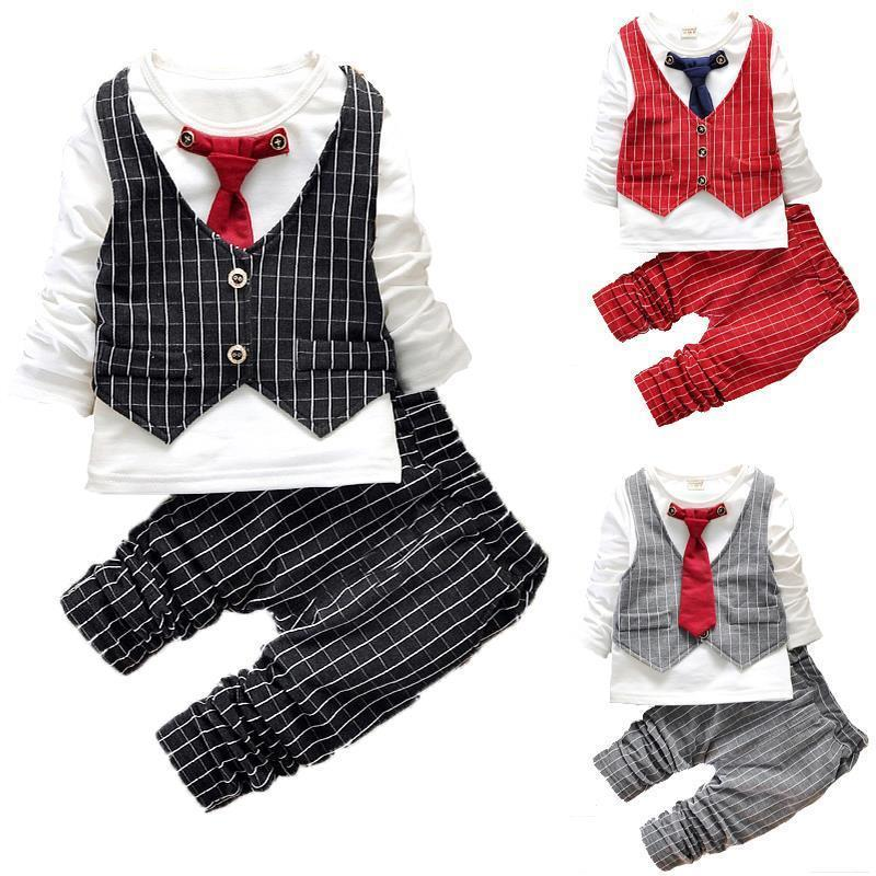 2016 Fashion Baby Boy Clothes Sets Gentleman Suit Toddler Boys Clothing Set Long Sleeve Kids Boy Clothing Set Christmas Outfits(China (Mainland))
