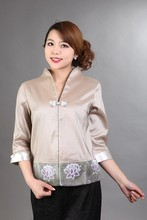 2015 New Arrival Khaki Women's Silk Lace Jacket Single Button V-Neck Coat Sexy Flower Three Quarter Costume Size S To XXXL  NJ90