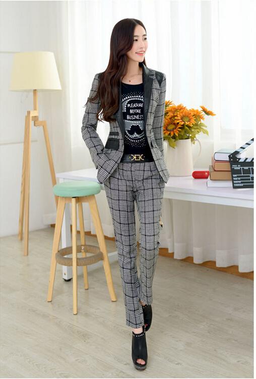 Fashion 2014 New Autumn Women Suits Set Office Ladies Blazer Pants Work Wear Maxi Plaid Strip PU Patchwork - BuyMallHere store