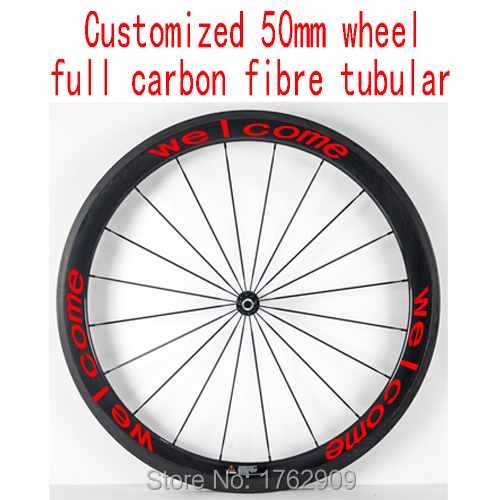 1pcs New 700C customized 50mm tubular rim Road Track Fixed Gear bicycle 3K UD 12K full carbon fibre bike wheelset Free shipping(China (Mainland))