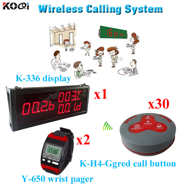 Wireless Restaurant Pager System Wall Display K-336 With 4 Key Button Wrist Watch Y-650( 1 display 2 wrist watch 30 call button)(China (Mainland))