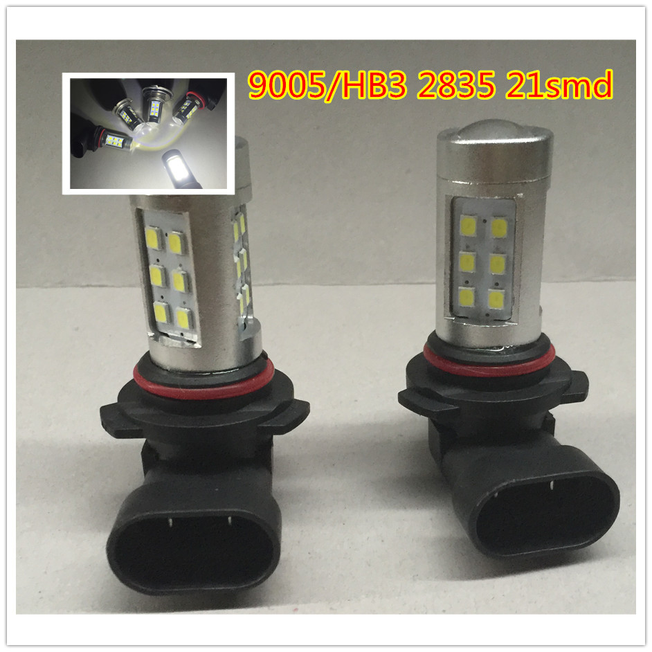 2X Car Styling 9005 HB3 Super Bright 2835 21 SMD Auto Car Light Source 12W Hight Low Beam Head Light Fog Light DRL(China (Mainland))