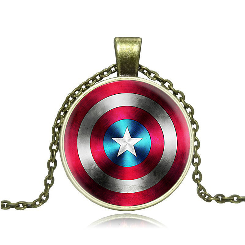 2PCS Foreign trade selling jewelry vintage alloy Avengers United States captain mark the time gem necklace Y005(China (Mainland))