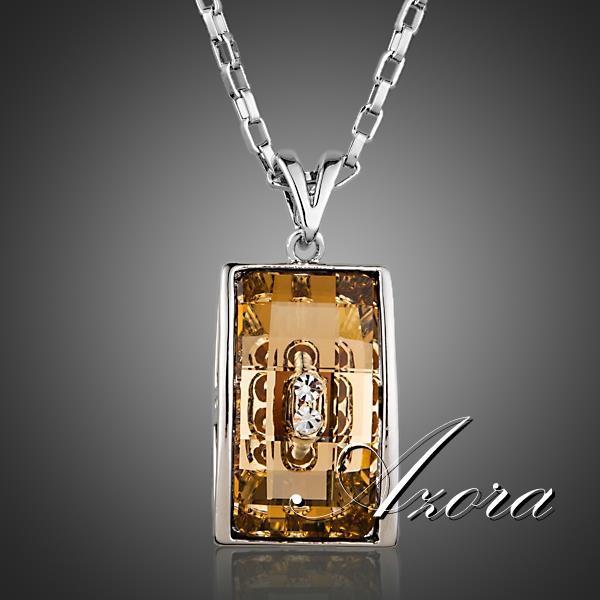 AZORA Fashion Jewelry Rectangle Champagne Stellux Austrian Crystal Pendant Necklace TN0181(China (Mainland))