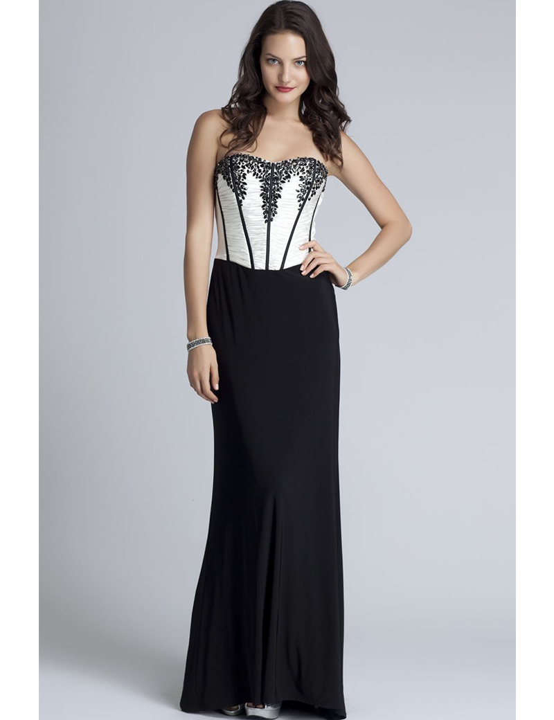 2014 fashion black and white evening dresses with beads
