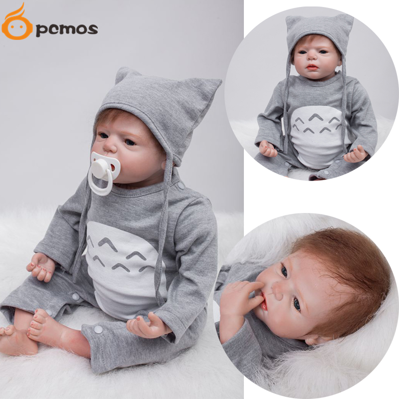 """[PCMOS] 22"""" Vinyl Handmade Soft Touch Reborn Baby Doll Kids Toys w Cartoon Cat Design Jumpsuit Knit Hat Collection Gift 16092415(China (Mainland))"""
