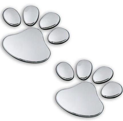 10pairs 3D Dog Bear Footprints Chrome Badge Emblem Car Stickers Decal Dog paw Dog Footprint 3D PVC for FORD Mustang FOCUS 2 3 ST(China (Mainland))
