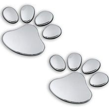 10pairs 3D Dog Bear Footprints Chrome Badge Emblem Car Stickers Decal paw Footprint PVC FORD Mustang FOCUS 2 3 ST - Cars is a big family store