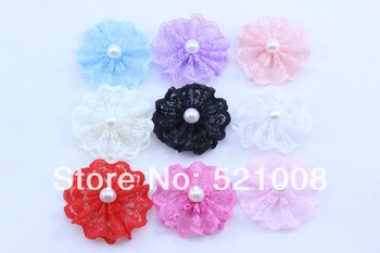 Hot Ruffled Lace Tulle Flowers with Pearl Fabric Flower for Headband Clips Hairpins Girls Hair Accessories Ornaments 48pcs/lot