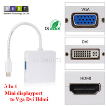Buy 3 1 Mini displayport DP Thunderbolt DVI VGA HDMI Converter Adapter cable iMac Mac Mini Pro Air Book TO Monitor TV for $1.89 in AliExpress store