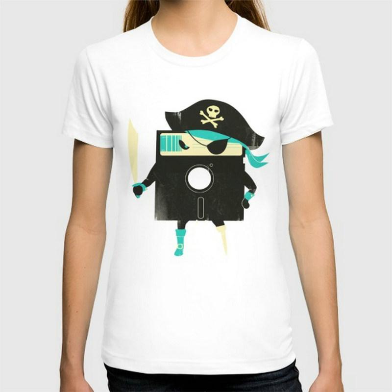 Software Pirate New women's T-shirts Short Sleeve Cotton women t shirts Clothing Wholesale(China (Mainland))