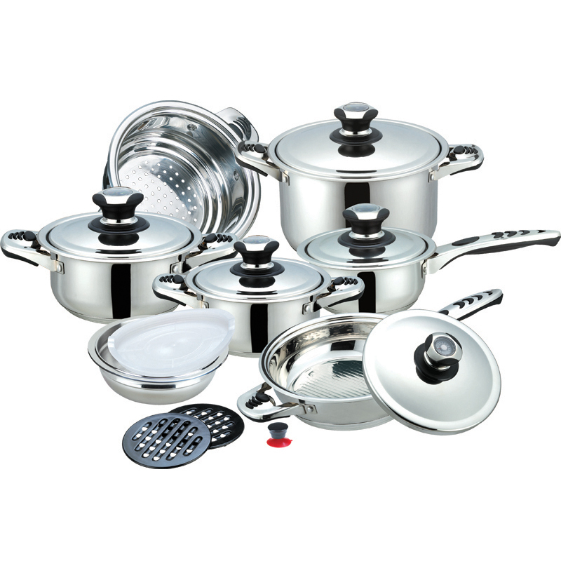 buy top quality cooking tools 19pc of stainless steel cookware set made in. Black Bedroom Furniture Sets. Home Design Ideas