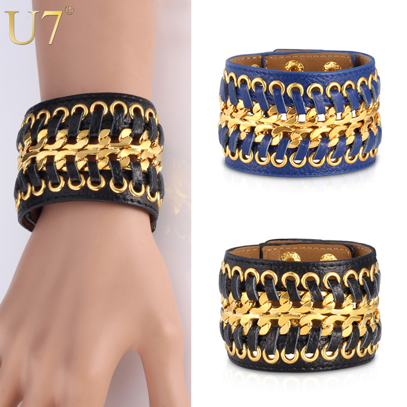 U7 Leather Bracelets High Quality Genuine Leather 18K Real Gold Plated Jewelry Unisex Women/Men Gift Trendy Wide Bracelet H499(China (Mainland))