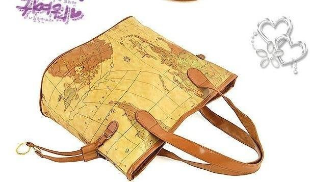 New Women's Fashion World Map Tote Shoulder Handbag Bag free shipping(China (Mainland))