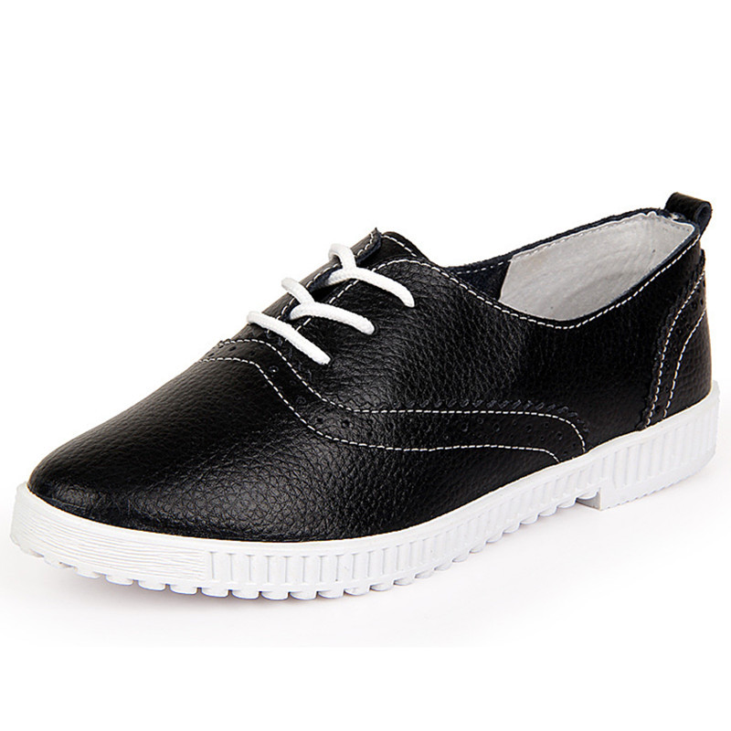Hot 2015 Women Dress Shoes Leather Fashion Casual Breathable Women Flat Oxfords Shoes Calzado Mujer Spring Autumn Black 35-40(China (Mainland))