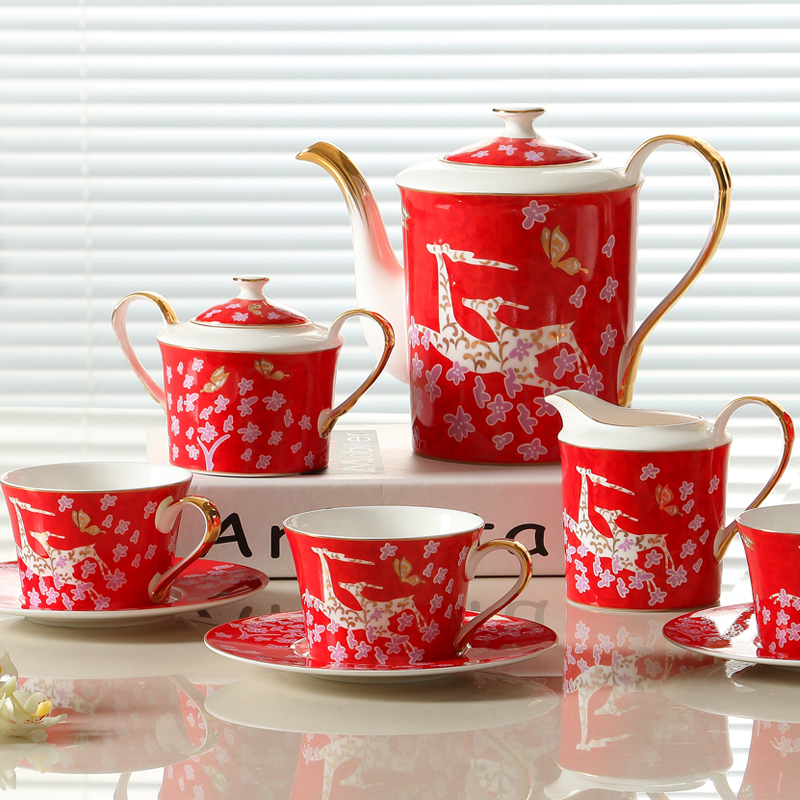 High quality fashion coffee cup and saucer set ceramic coffee sets 15 piece ceramic tea set