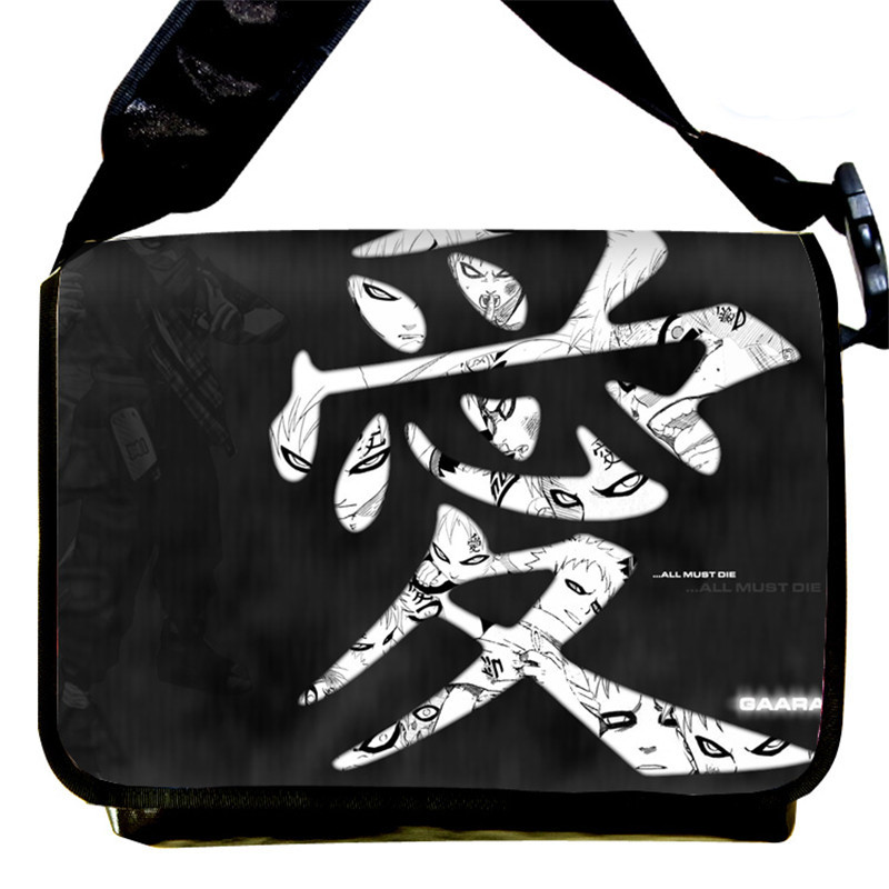 New Fashion Canvas Messenger Bag Naruto Gaara Love Print Japan Anime Cosplay Schoolbag Shoulder Bags