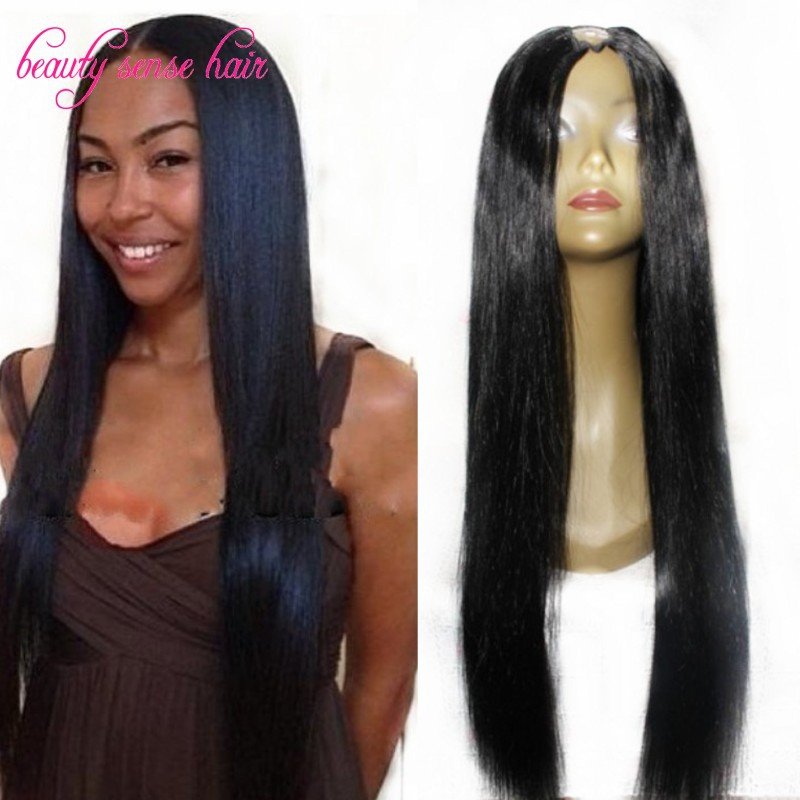 Hot Sale U Part Wig Brazilian Virgin U Part Human Hair Wigs Middle/Side Part Long Straight Upart Wig Natural Color Free Shipping