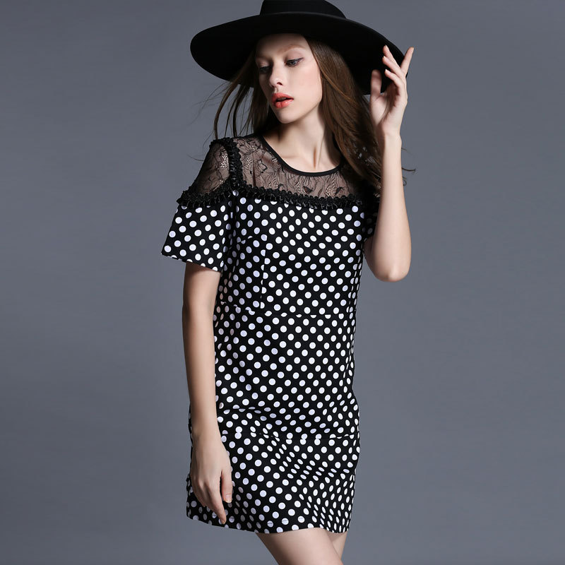 New Style Dress Cotton Cloth Printing and Dyeing Nylon Off Shoulder Lace Patchwork Dot Dress(China (Mainland))