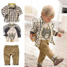 Free shipping,1 set Retail top quality children clothing set boy's plaid 3 pcs set overshirt+tees+pants autumn baby wear(China (Mainland))
