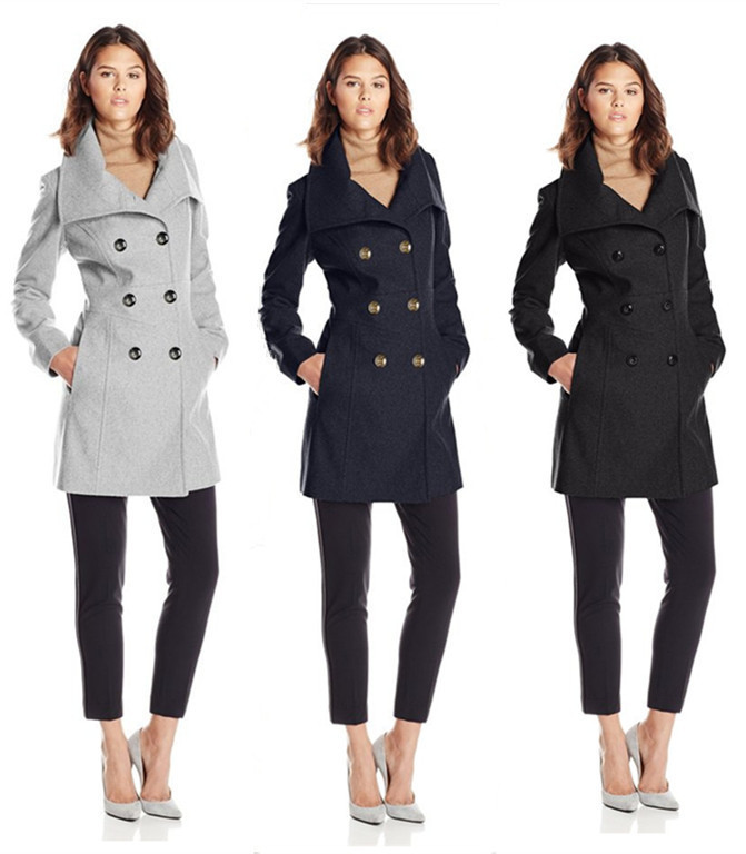 Black Pea Coats For Women Photo Album - Reikian