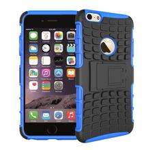 "Free Shipping Dual Layer Armor Silicone + Hard Shell Hybrid Kickstand Case Cover For Apple iPhone 6 4.7"" ShockProof For iPhone6"