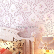 Promotional new European nonwovens Children Bedroom warm atmosphere cute cartoon boy and girl baby pink bear wallpaper(China (Mainland))
