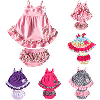 Baby Girl 2pcs Clothing Set Ruffle Bloomers + Cute T-shirts Toddler Cotton Clothing Baby Fashion Clothes in Summer Free Shipping