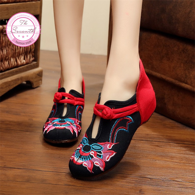 Благоприятный Женщины Вышивка Обувь женская Плоские Мэри Джейн Китайский Стиль Случайные ...
