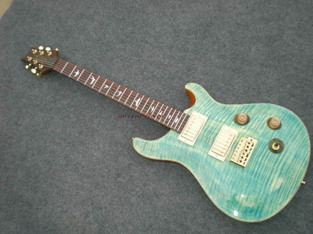 New arrival prs guitar blue Flame maple top rosewood fingerboard PRS Custom 24 electric guitar free shipping(China (Mainland))