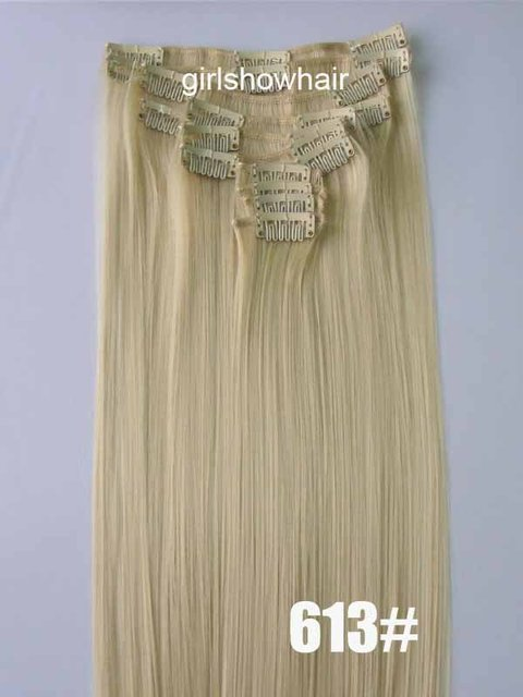 1set Synthetic hair extensionclip in hair 12pcs hair extension Bleach blonde hair 130grams color 613#,22""