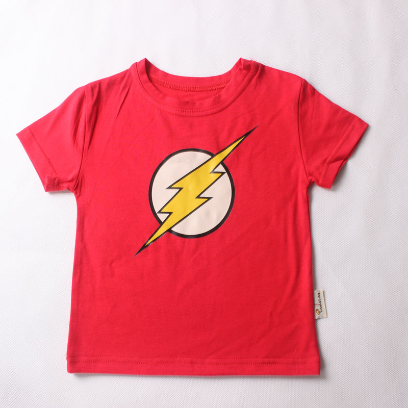 Fashion new Cotton short sleeve children t shirts boys girls t shirt kids marvel flash man logo Tops For 2-14 year(China (Mainland))