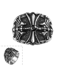 2015 Lureme Fashion Cool Trendy Cross Ring Exaggerated Personality Gothic Stainless Steel US size 8-11