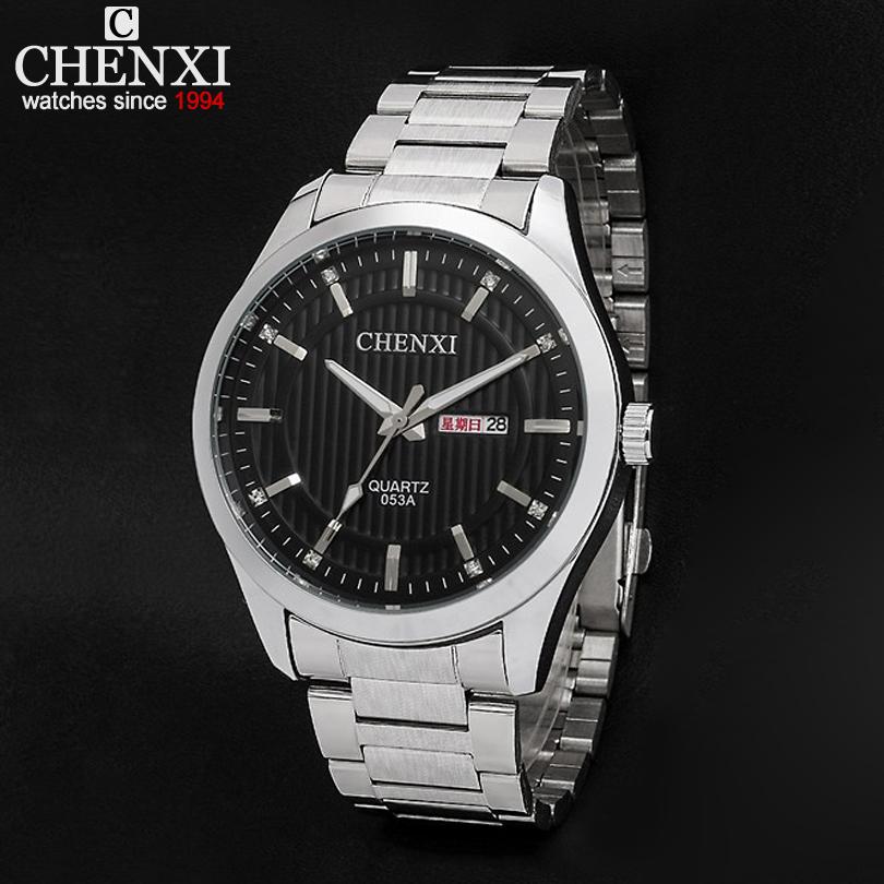 2 colors,With weeks and date display Men's stainless steel watch,Men casual Quartz Analog watch Waterproof luminous clock CHENXI