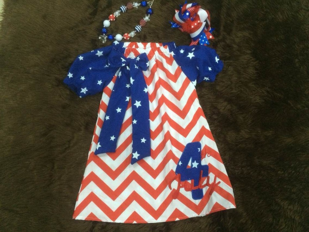 2015 baby girl red & white chervon 4th July dress matching necklace bow - Princess and Pea store