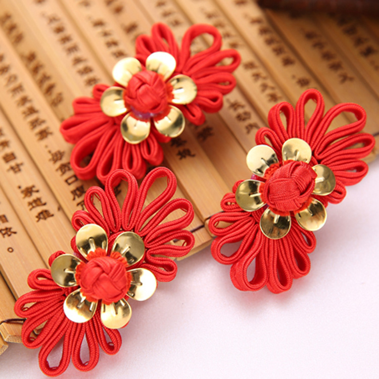 Handmade bridal headwear manufacturer wholesale hair accessories hairpin red Chinese wedding toast dress accessories()