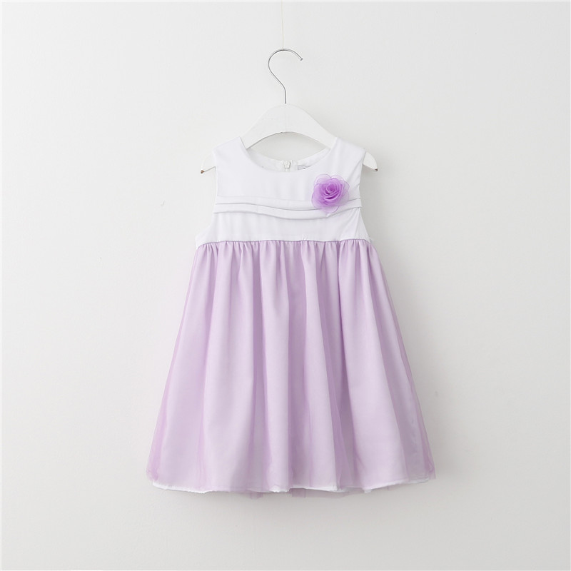 Girls Mesh Lace Party Dresses Baby Girl Summer Princess Dress with Floral Brooch 2016 Babies tutu Dress children's clothing