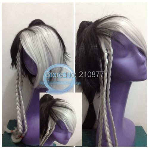 Fashion Anime  Wig Black and White Color Cosplay Wig Heat Resistant Fiber Anime Wig + Ponytail <br><br>Aliexpress