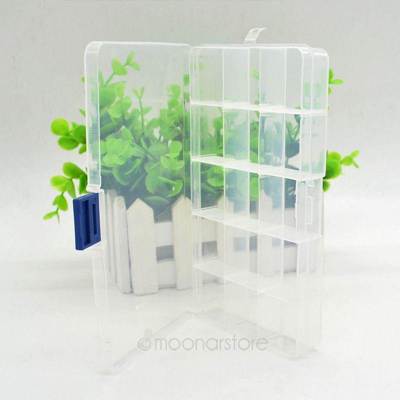 Transparent Adjustable Jewelry Box Packaging Case 10/15/24 Slot Home Organizer Storage Beads Box Plastic PJJ0078*50(China (Mainland))