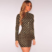Buy Sequin Party Dresses 2017 Brand Women Long Sleeve High Neck Bodycon Shining Dress Sexy Clubwear Mini Black Gold Dress 2-layer XL for $19.90 in AliExpress store